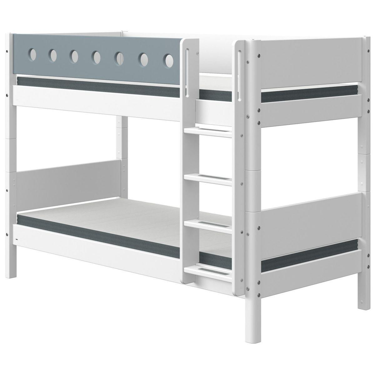 Litera 90x190cm escalera recta WHITE Flexa blanco-azul claro