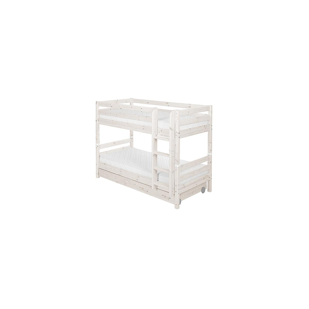 Litera 90x200 CLASSIC Flexa escalera recta 2 cajones blanco cal