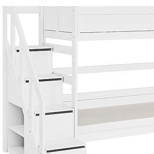 Litera 90x200cm escalera cajones Lifetime blanco