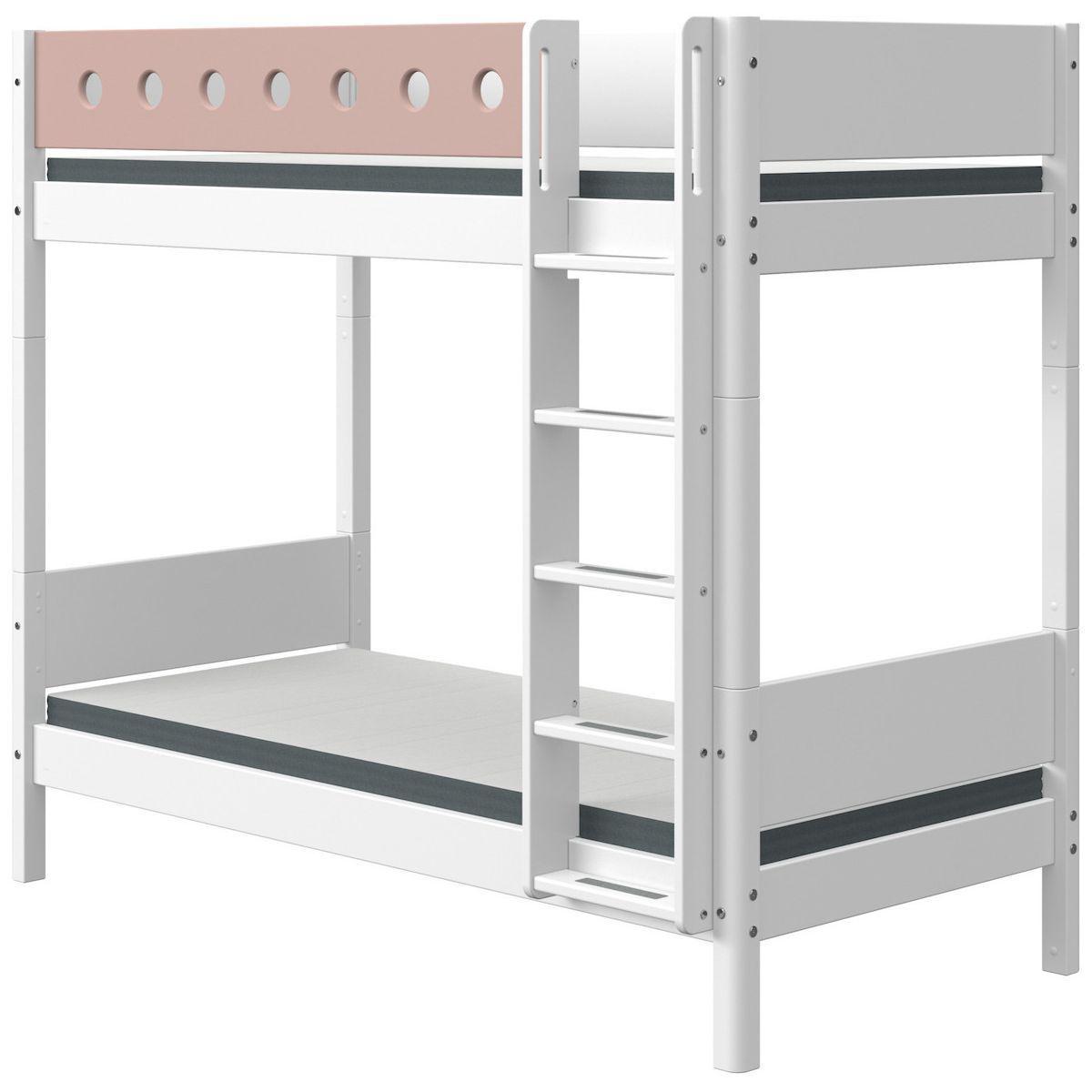 Litera extra alta 90x190cm escalera recta WHITE Flexa blanco-rosa claro