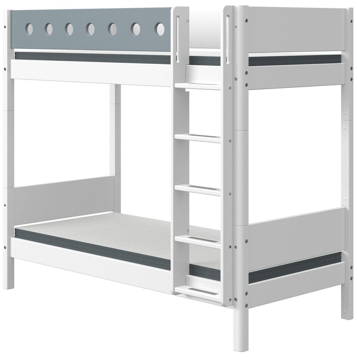 Litera extra alta 90x200cm escalera recta WHITE Flexa blanco-azul claro