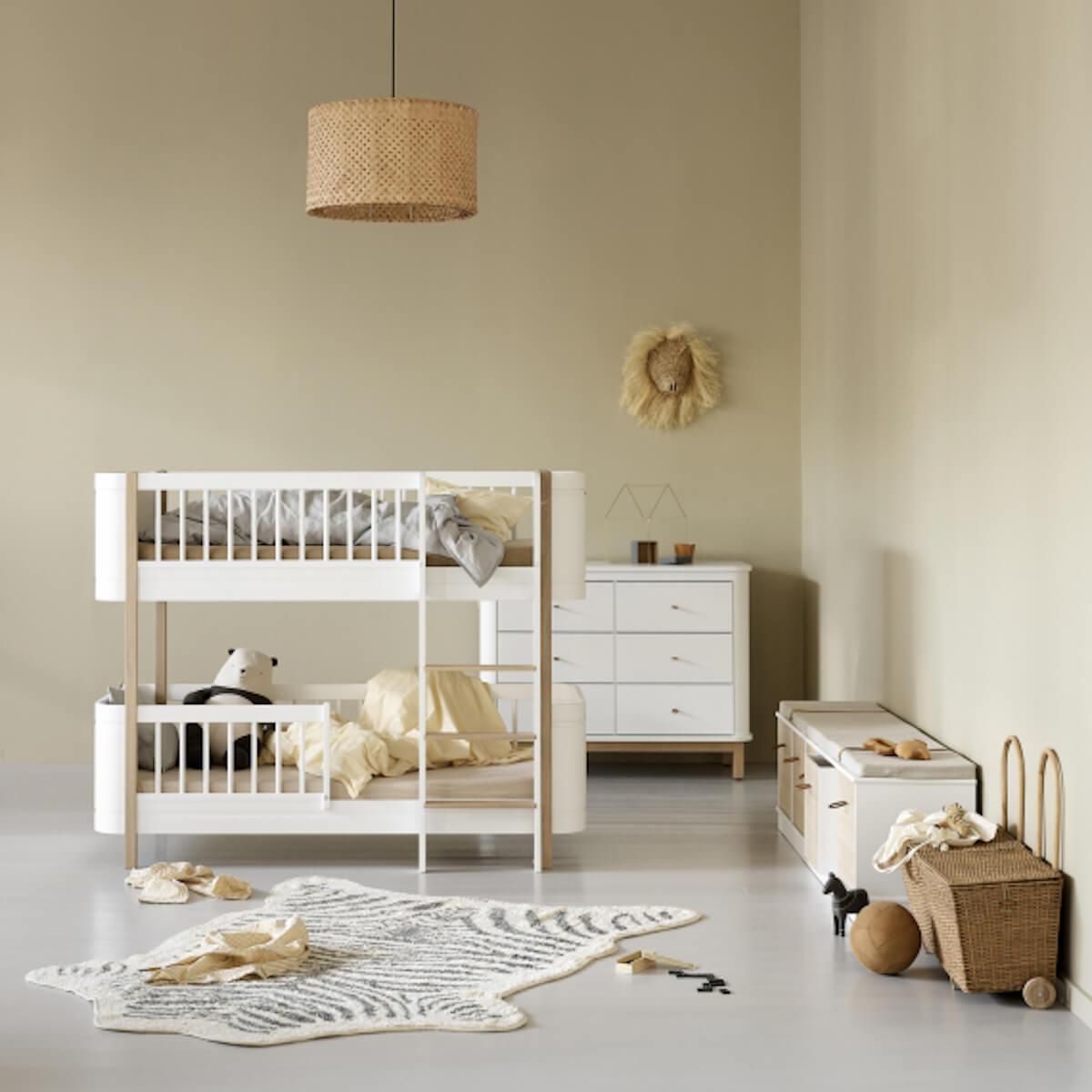 Litera Mini+ 68x162cm WOOD Oliver Furniture blanco-roble