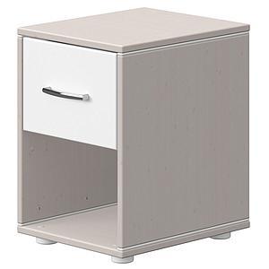 Mesita de noche 1 cajón CLASSIC de Flexa grey washed-blanco
