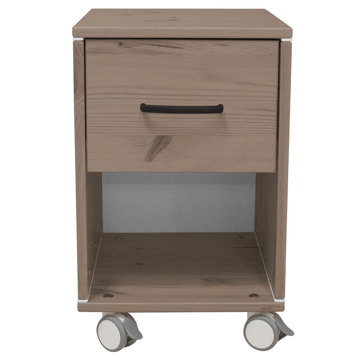 Mesita de noche infantil 1 cajón NEW CLASSIC Flexa terra - terra - blanco
