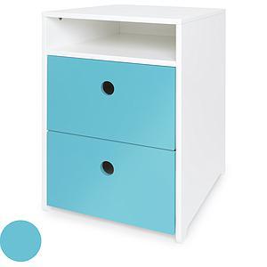 Mueble pequeño 2 cajones COLORFLEX Abitare Kids frontales paradise blue