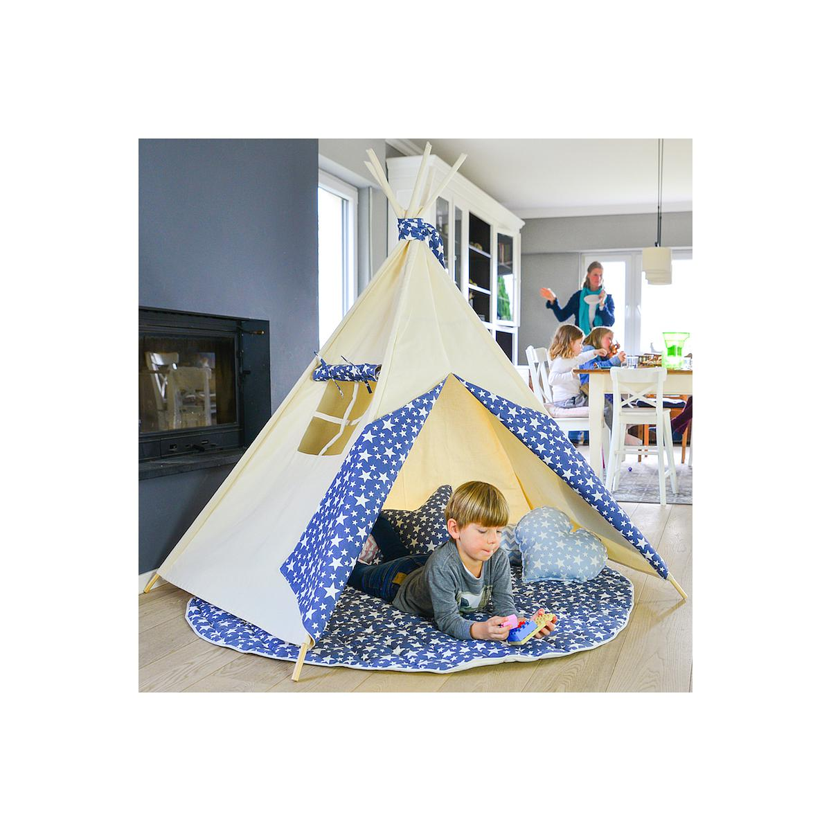 Pack Tipi niños con alfombra Abitare Kids Blue jeans