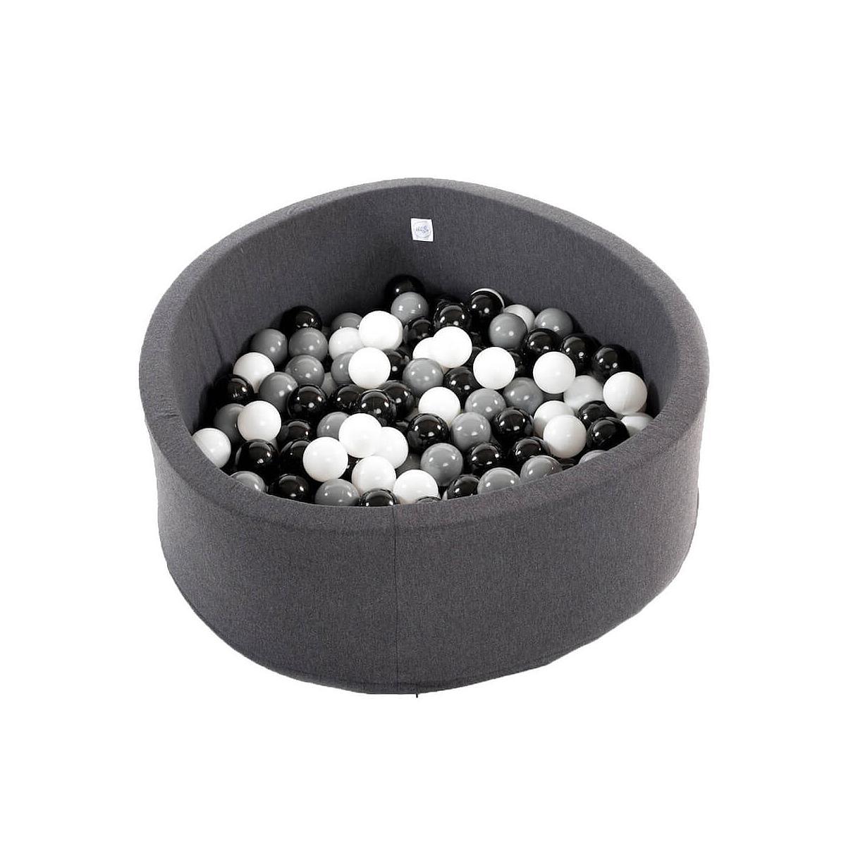 Piscina 200 bolas DARK GREY Minibe negro-blanco-gris