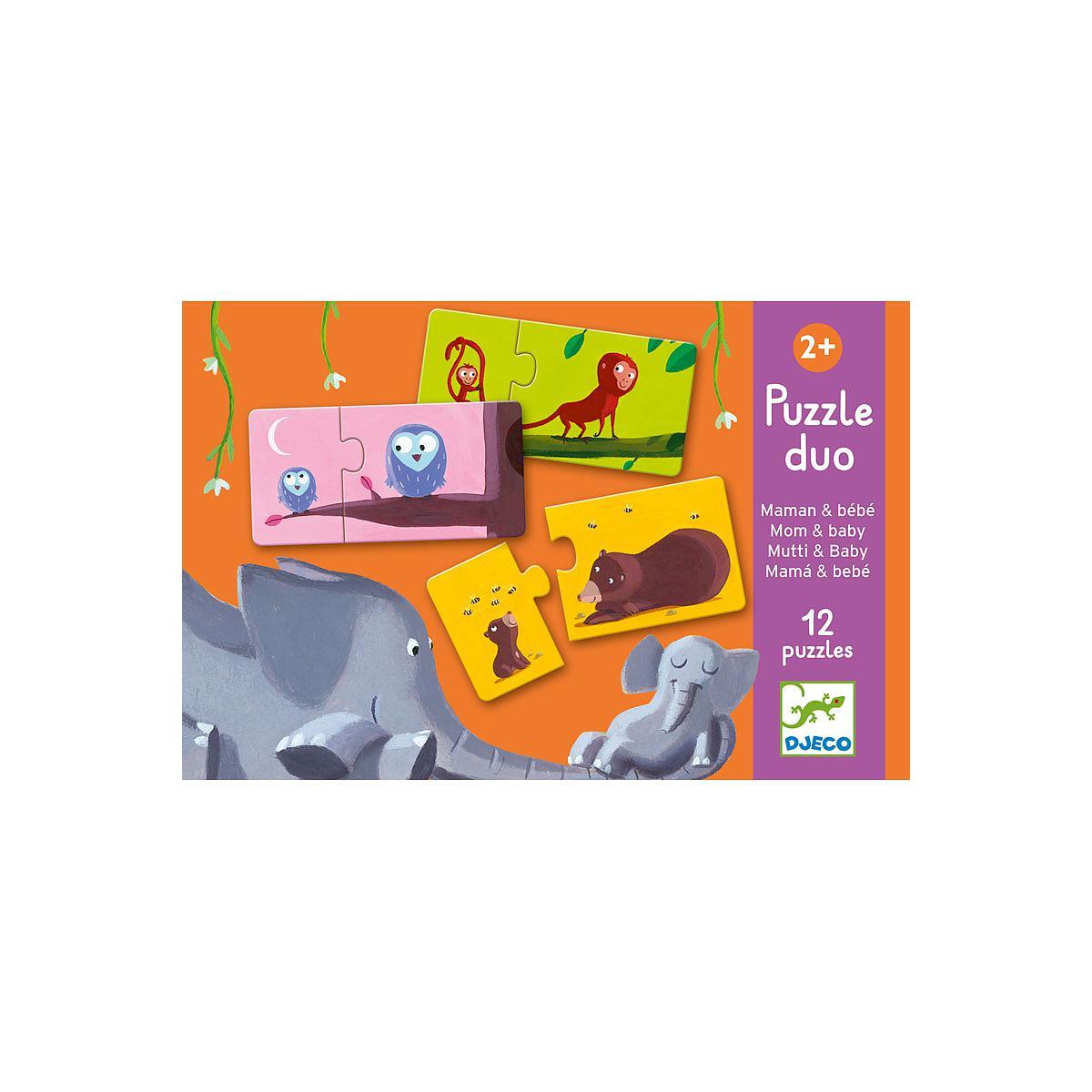 Puzzle dúo +2Y 12pcs MAMÁ Y BEBÉ Djeco