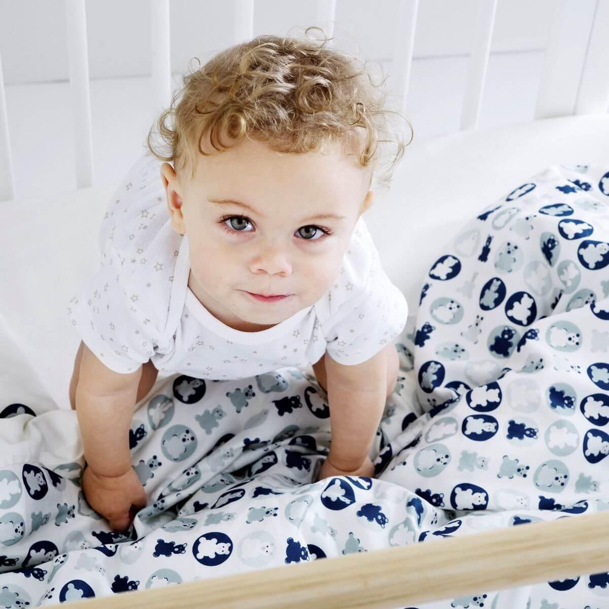 Ropa de cuna con funda cojín BABY Flexa azul