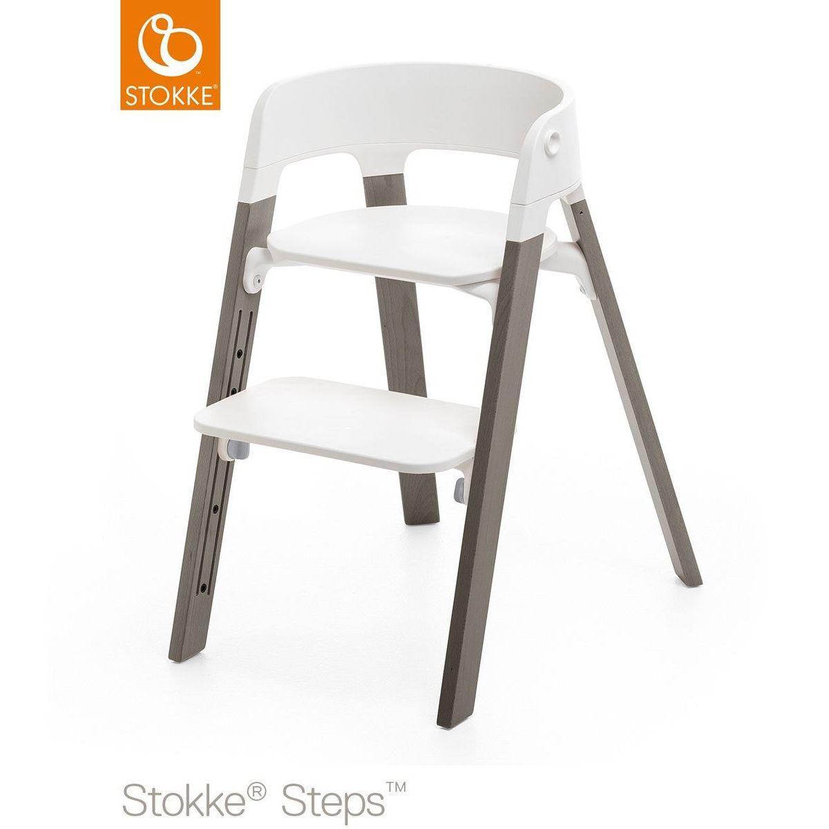 Trona bebé haya STEPS Stokke gris bruma-blanco