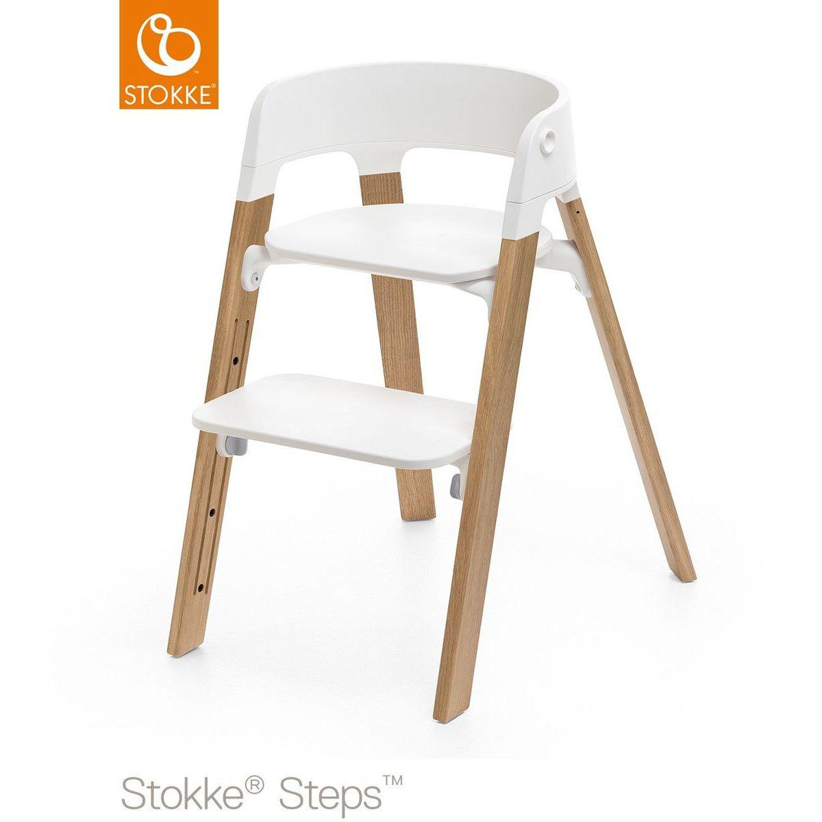 Trona bebé roble STEPS Stokke natural-blanco